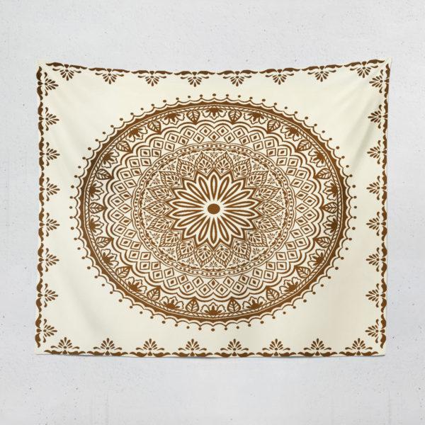 Krem Mandala Duvar Örtüsü