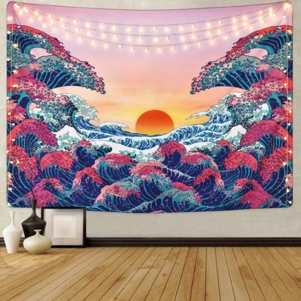 Psychedelic Wave Duvar Örtüsü