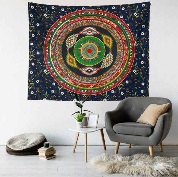 Lacivert Mandala Duvar Örtüsü