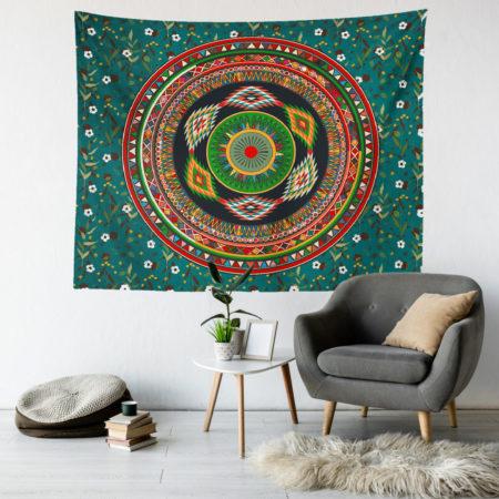 turkuaz mandala duvar örtüsü