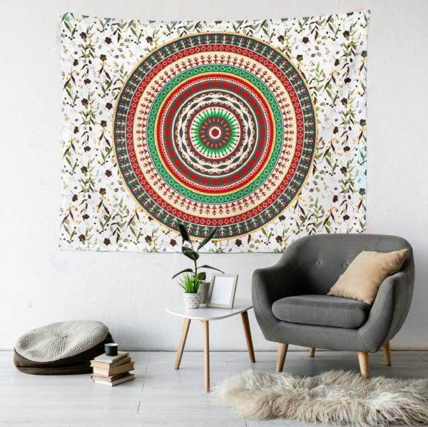 beyaz mandala duvar örtüsü