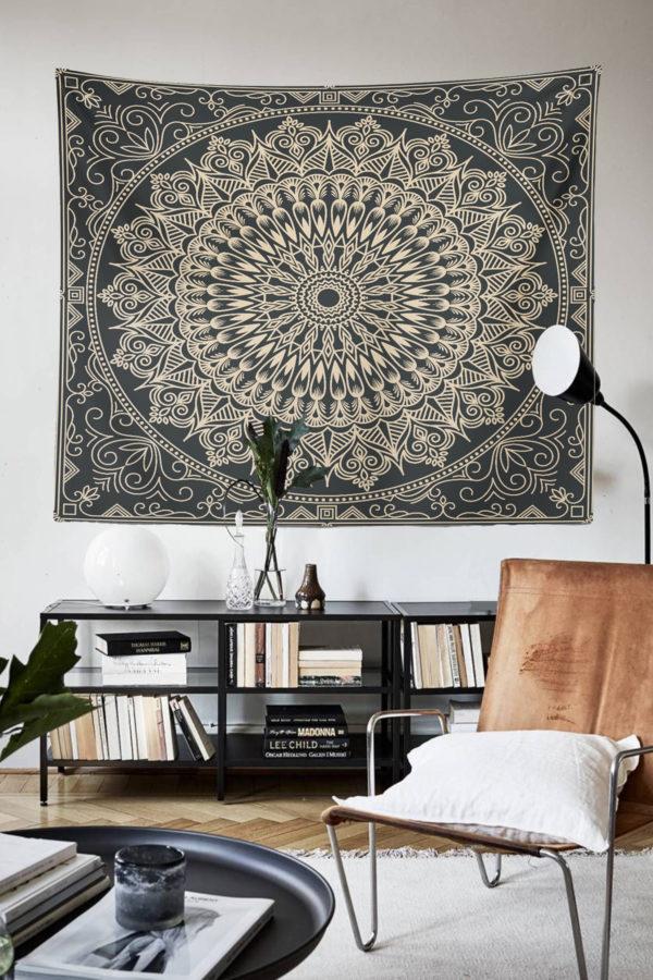 Siyah Mandala Duvar Örtüsü