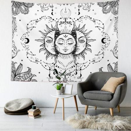 Sun and Moon Duvar Örtüsü - Beyaz