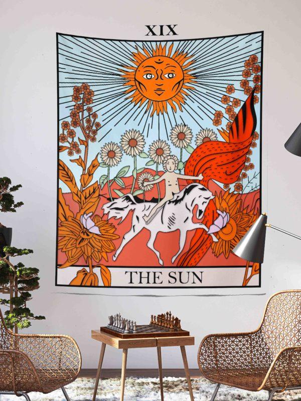 the sun tarot kart duvar örtüsü