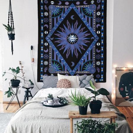 Bohem Mavi Mandala Duvar Örtüsü